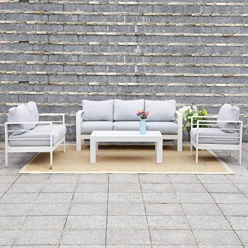 Harrier Outdoor Luxury Aluminium 6 Seater Lounge Sofa Set White