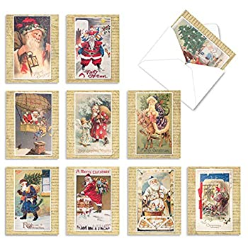 The Best Card Company - 10 Santa Christmas Note Cards with Envelopes - Assorted Boxed Set Kids Holiday Cards  4 x 5.12 Inch  - Holly Jolly Santa M9779XSG