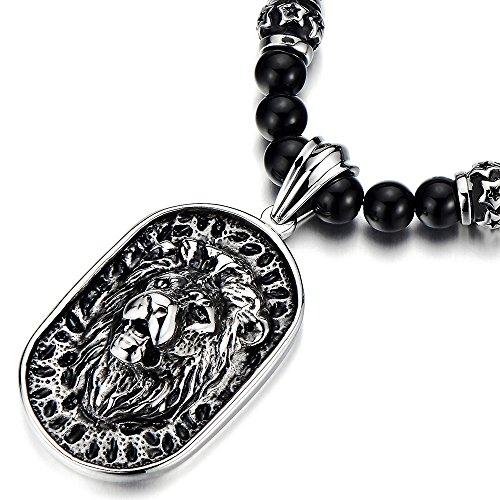 COOLSTEELANDBEYOND Estilo Gótico, Hombre Collar Cuentas de Ónix Negro con Cabeza de León Escudo Colgante Acero Inoxidable, 70CM Largo