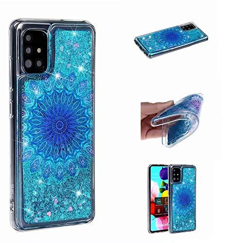 Miagon Flüssig Hülle für Samsung Galaxy A51,Glitzer Weich Treibsand Handyhülle Glitter Quicksand Silikon TPU Bumper Schutzhülle Case Cover-Blau Totem Blume