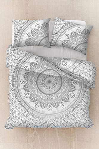 Sophia Art Sophia Art Parure de lit avec housse de couette et taies d'oreiller Motif mandala bohème Argenté