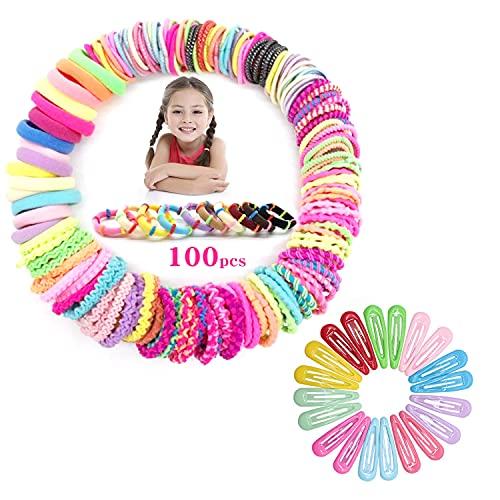 120 Stück Mädchen Haarschmuck Set, 100 Stück Haargummis Mädchen, 20 Stück Haarspangen, Multicolor Haar Gummibänder Haarbänder Elastischer Haarschmuck Haarseil Pferdeschwanz Haarband Set für Kinder