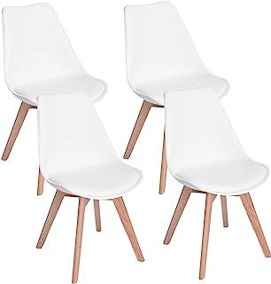 bianco, 4 camera da letto soggiorno o ufficio sala da pranzo ZMALL Set di 4//6 sedie da pranzo in legno massello naturale gambe con morbido cuscino cuscino contemporaneo per cucina