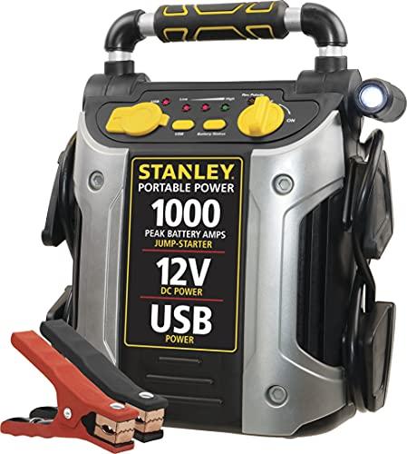 STANLEY J509 Portable Power Station Jump Starter: 1000 Peak/500 Instant Amps, USB Port, Battery Clamps