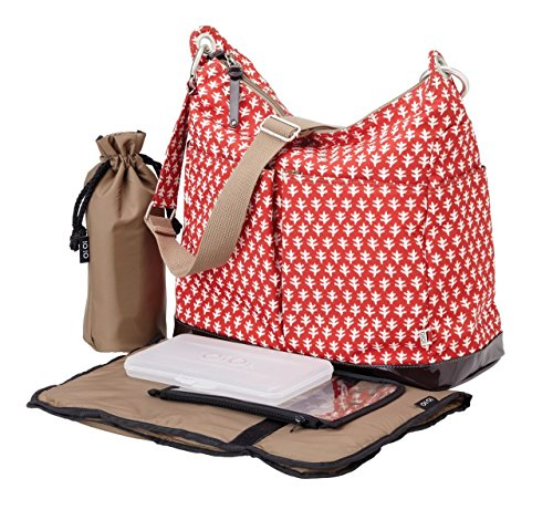 OiOi Hobo Diaper Bag, Red/White