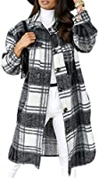 KUYG Dames trenchcoats, warme casual button down plaid jas met lange mouwen parkajas lente en winter jas
