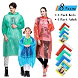 world of color disney - Rain Ponchos Family Pack, 8 Pack Disposable Extra Thick Emergency Rain Ponchos, Fits Adults and Kids, Assorted Colors, Perfect for Theme Park, Hiking, Disney, Camping Gear, Fishing
