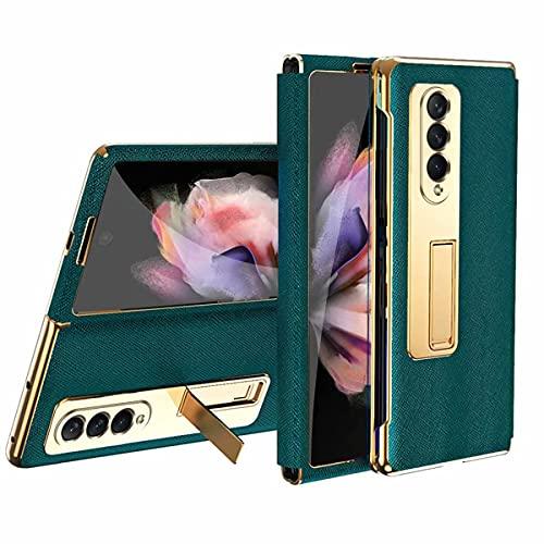 FTRONGRT Für Samsung Galaxy Z Fold 3 5G Hülle, Galvanikrahmen + Leder, 180° Beliebig Faltbar, Verstecktes Bügeldesign, Geeignet für Samsung Galaxy Z Fold 3 Handy Schutzhülle.Grün