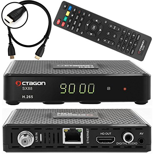 Octagon SX88 satellietontvanger DVB-S/S2 multistream incl. HDMI-kabel (HDTV, HDMI, USB 2.0, digitale audio, AV-uitgang, externe IR sensor, LAN, H.265, YouTube, Stalker, Kodi, internetradio)