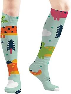 Adorable Funny Dinosaurs Cartoon Animals Wildlife Dinosaur 19.7 Inch Compression Socks High Boots Stockings Long Hose for Yoga Walking for Women Man