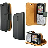 PIXFAB For Nokia 130 2017 - Premium Black Leather Magnetic