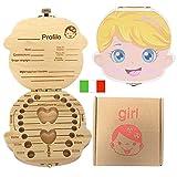 Denti box per bambini, baby Denti Scatola portaoggetti Salva organizzatore scatole di legno personalizzata Decidue souvenir box, Scatola di raccolta dei denti del bambino (Ragazza di colore)