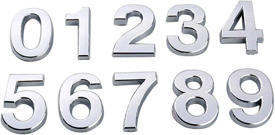 CHZIMADE Self Adhesive House Number 0-9 Sticker for House Hotel Door Address Sign 3D Modern ABS Door Number Sign Black 5CM