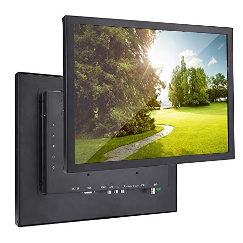 Vbestlife1 Pantalla táctil de Resistencia, Monitor Industrial de 15 Pulgadas, Pantalla de computadora LCD 4: 3, Compatible con Interfaz HDMI/VGA/AV/BNC, 1024x768, DC12V(Negro)