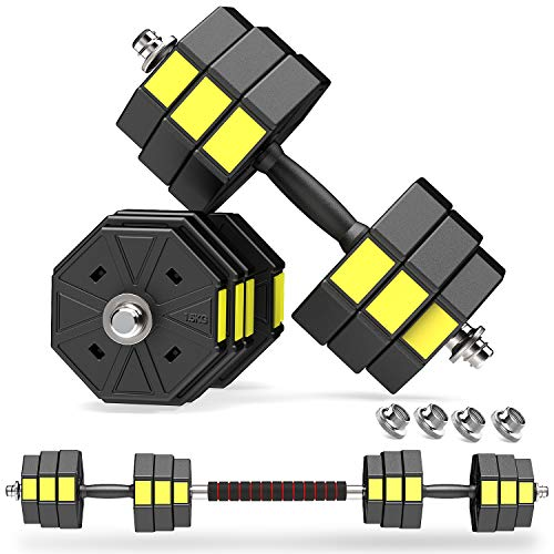 PANMAX Adjustable Dumbbells Barbell Set of 2 UP to 44lbs Free Weight Set with Connector Octagon AntiRolling Dumbbell Barbells Set Home Office Gym Fitness Workout Exercises for Men/Women