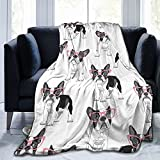 Pooizsdzzz Blanket Cartoon French Bulldog in Pink Glasses Fleece Flannel Throw Blankets for Couch Bed Sofa Car,Cozy Soft Blanket Throw Queen King Full Size for Kids Women Adults 80