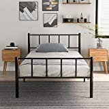 LIFE CARVER Solid <span class='highlight'>Metal</span> <span class='highlight'>Bed</span> <span class='highlight'>Frame</span> for Adults Kids Children with Vintage Headboard and Footboard, Black (Single <span class='highlight'>Bed</span>)