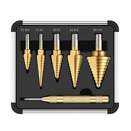 HYY-YY 6pcs HSS Titanium Coated Step Drill Bit With Center Punch Drill Set Hole Cutter Drilling Tool Accessory Digital