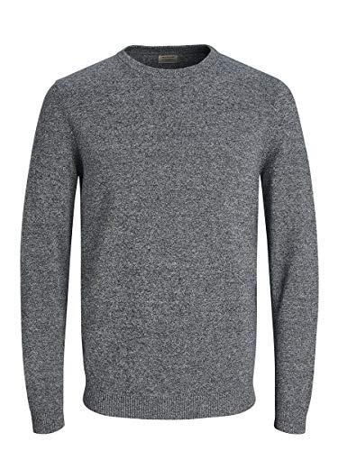 Jack & Jones Jjebasic Knit Crew Neck Noos suéter, Azul (Navy Blazer Detail: Twisted with Jet Stream), Large para Hombre