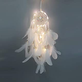 Docooler Feather Dream Catcher with LED Light Portable Handmade Wall Hanging Decoration Photography Prop Room Home Deco