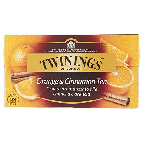 Twinings Té Negro - Orange & Cinnamon - Sabor Inconfundible Picante de Canela se une al Sabor Dulce y Brioso de la Naranja - Mezcla de Sabor Perfumado (25 Bolsas)