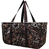 N. Gil All Purpose Open Top 23' Classic Extra Large Utility Tote Bag 2 (Natural Camo Brown)