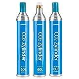 Homewit 3X CO2 Zylinder   erstbefüllt in Deutschland   Pro Füllung bis zu 60 L Sprudelwasser   geeignet für SodaStream(z.B. SodaStream Crystal, Easy, Power und Cool) Wassersprudler usw.