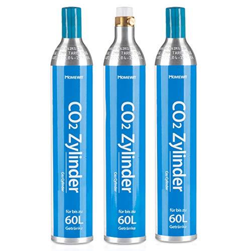 Homewit 3X CO2 Zylinder | erstbefüllt in Deutschland | Pro Füllung bis zu 60 L Sprudelwasser | geeignet für SodaStream(z.B. SodaStream Crystal, Easy, Power & Cool) Wassersprudler usw.