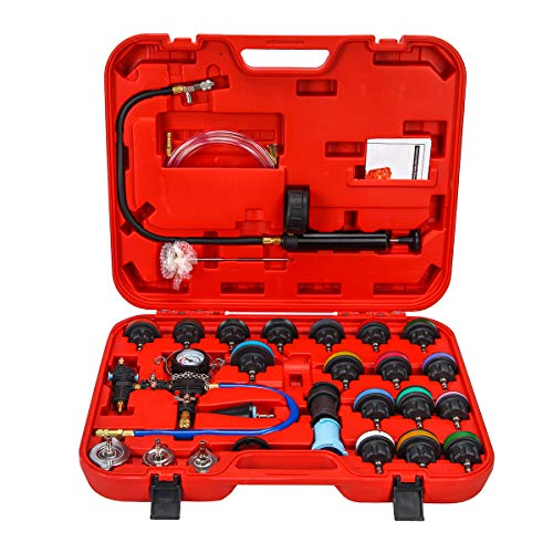 NA. 28pcs Universal Radiator Pressure Tester and Vacuum Type Cooling System Kit with Toolbox Storage for Car Truck Motorcycle Use