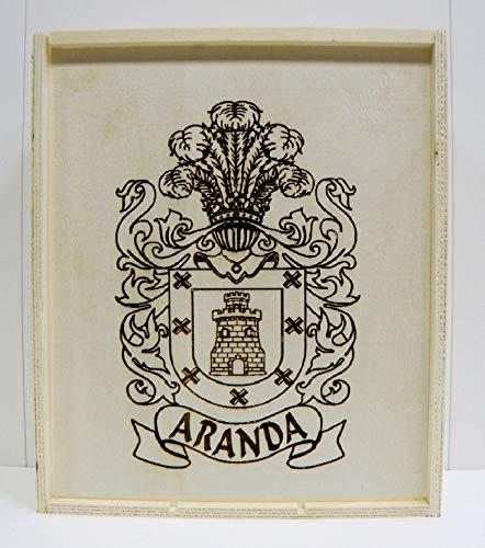 Arte-Deco Caja de Madera para 3 Botellas de Vino, grabada y Personalizada con 1 Escudo HERÁLDICO de su Apellido. Regalo Original y Elegante para añadir Las Botellas de Vino de su elección