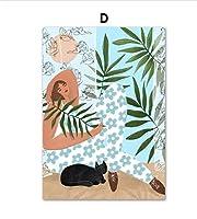 抽象少女葉植物風景壁アートキャンバス絵画ヴィンテージ北欧ポスターとプリント壁の写真リビングルームの装飾用フレームなし40×60