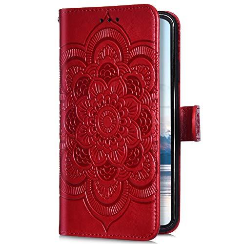 Uposao Kompatibel mit Samsung Galaxy A7 2018 A750 Handyhülle Mandala Blumen Muster Handy Schutzhülle Ledertasche Flip Case Handytasche Wallet Hülle Bookstyle Klappbar Lederhülle Magnetisch,Rot