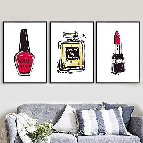YDGG Canvas schilderij Nordic Prints muurkunst parfum lippenstift afbeeldingen creatieve poster woonkamer decoratie 50 x 70 cm x 3 st. Geen lijst