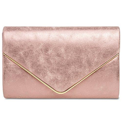 Caspar TA349 Damen elegante Clutch Tasche Abendtasche mit langer Kette, Farbe:pink, Größe:One Size