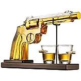 Pistol Gun Liquor Decanter Bottle and Bullet Shot Glasses, Decanter Set for Scotch Whiskey Vodka Bourbon