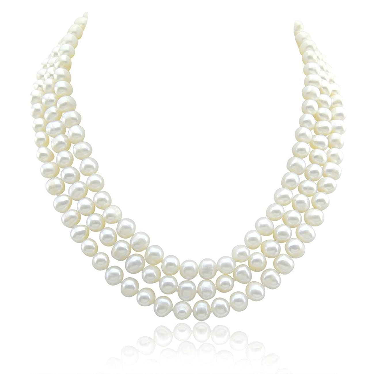 3-row White A Grade Freshwater Cultured Pearl Necklace (6.5-7.5 mm) With rhodium plated base metal Clasp, 16.5
