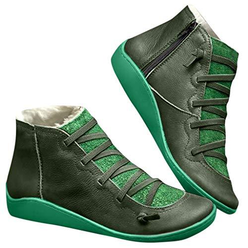 Fenverk 2019 Neue Frauen Casual Arch Support Stiefel Stiefeletten Damen Flache Slip-On Bequeme Booties Side ReißVerschluss Schuhe Anti-Vintage SchnüRschuhe Fersenstiefel Kurzer Boot(A Grün,43 EU)