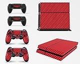 giZmoZ n gadgetZ GNG Étiquette autocollante Carbone Rouge pour Console PS4 + 2 Kits pour manettes