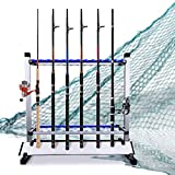 LUXHMOX Fishing-Holder Stand Holds up to 24 Rod-Rack for All Types of Rods and Combos Storage Organizer for Garage, Sports and Outdoor (Blue)