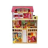 Calma Dragon Casa de Muñecas con Luces LED W06A163, de Madera con Muebles Incluidos, Mansion para muñecas, 3 Pisos para muñecas de 28cm, con escaleras y 18 Accesorios.