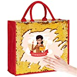 My Custom Style Bolsa de yute roja lentejuelas oro #Scuola-7