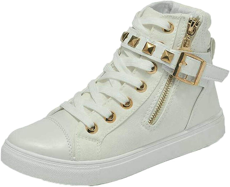 Hoxekle Woman's Rivet Buckle Strap Zipper Lace Up Casual Flat Platform Sneaker High Top Female Fashion Cool Walking shoes