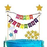 iZoeL Tortendeko Happy Birthday Girlande Geburtstag Wimpelkette + Glänzend Sterne Cake Topper (Bunte)