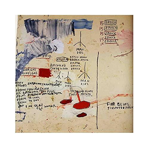 《Eroica I》 Jean-Michel Basquiat Cuadro en Lienzo| Lienzos Decorativos | Cuadros Decoración Dormitorios | Cuadros Decoración Salón (60x60cm (24x24 inch), sin marco)