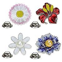 Ruikey 4PCS 花デザイン キラキラ 可愛い おしゃれ 美しい アクセサリー ジュエリー レトロ 女性用 プレゼント 贈り物