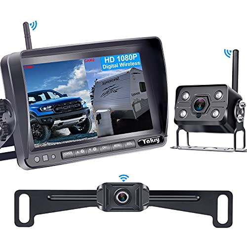 Yakry Y33 HD 1080P Digital Wireless Dual Backup Camera Hitch Rear View Camera for RVs,Trailers,Trucks,5th Wheels,Cars 7 Inch Monitor with Highway Monitoring System IP69K Waterproof Super Night Vision