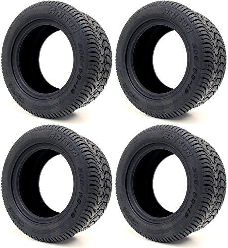 Arisun 205/50-10 DOT Street Tires for EZGO, Club Car, Yamaha Golf Carts (205/50-10, Set of 4 Tires)