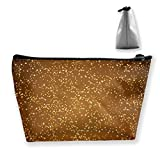 Beautiful Golden Stars Abstract Background Customized Trapezoidal Storage Bag Ladies Waterproof for Carrying Travel