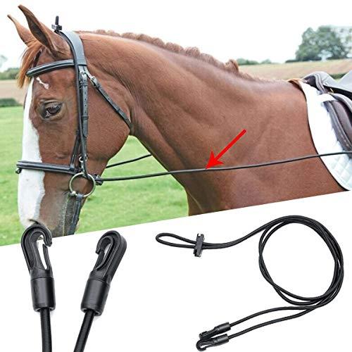 Logo Kit Equestrian 3 Metri Portatile Black Horse redini Briglia Capo Collare Corda Alta Stretch Nylon Halter Cavallo di Controllo Allegato Cavaliere Formazione Redini per Cavalli