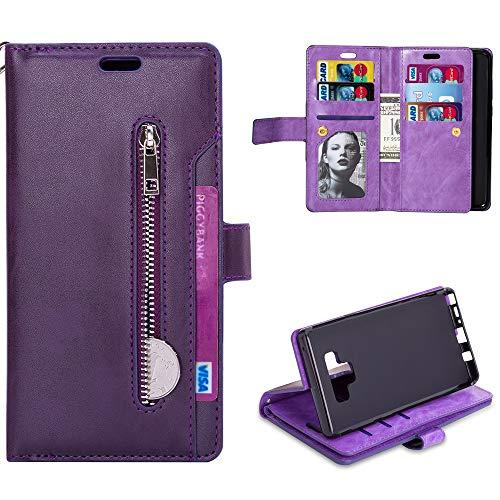 Coque Samsung Note 9, Multifonction Zip Style Flip Case Couleur Pure Etui Portefeuille en Cuir PU et TPU Silicone avec Stand Support et Rangement Carte de Crédit Slot pour Samsung Note 9 -Violet